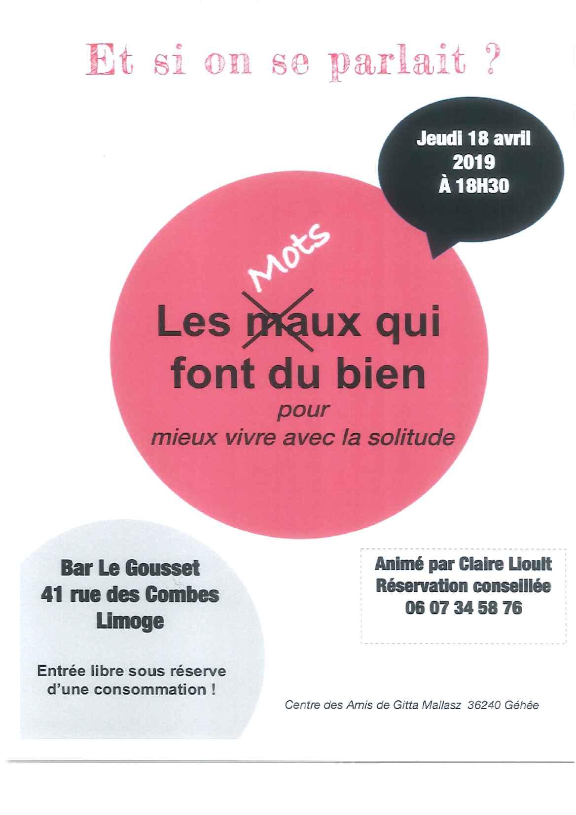 Limoges : Apéritif-rencontre : Les mots qui font du bien