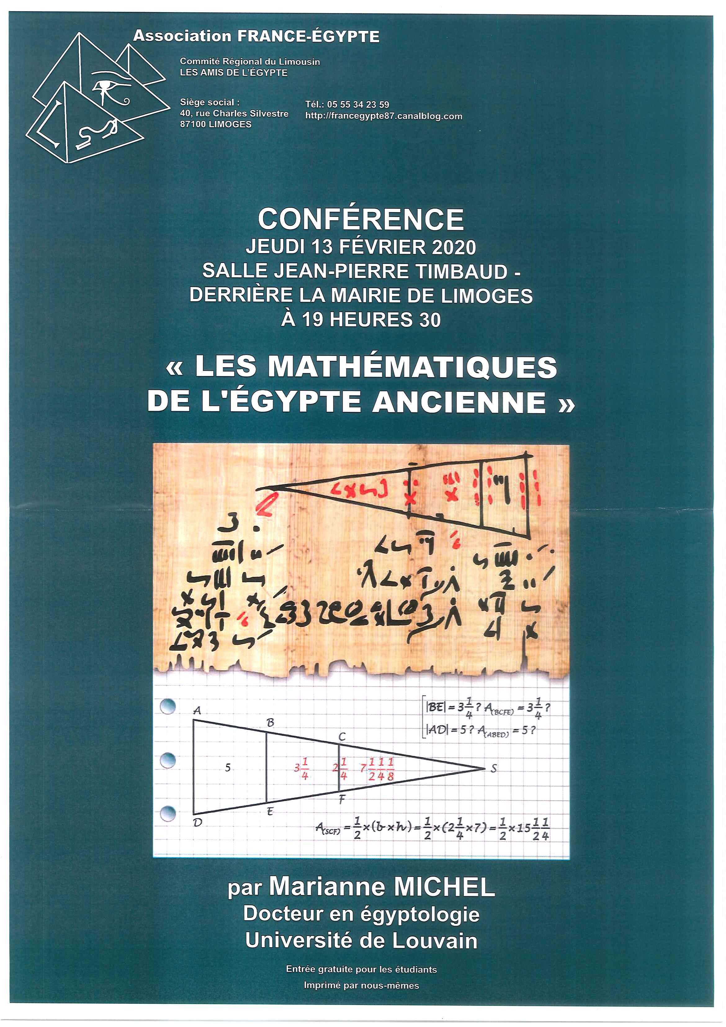 Limoges : Les mathématiques de l'Egypte