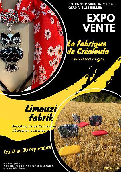 Exposition-Limouzi-Fabrik--et-Créaloula-à-l'Antenne-touristique-de-ST-Germain-les-Belles